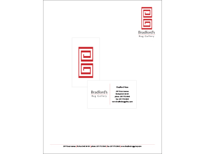 Bradford's business cards and letterhead
